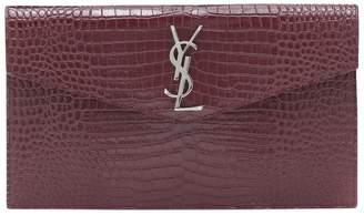 Saint Laurent Uptown croc-effect leather clutch