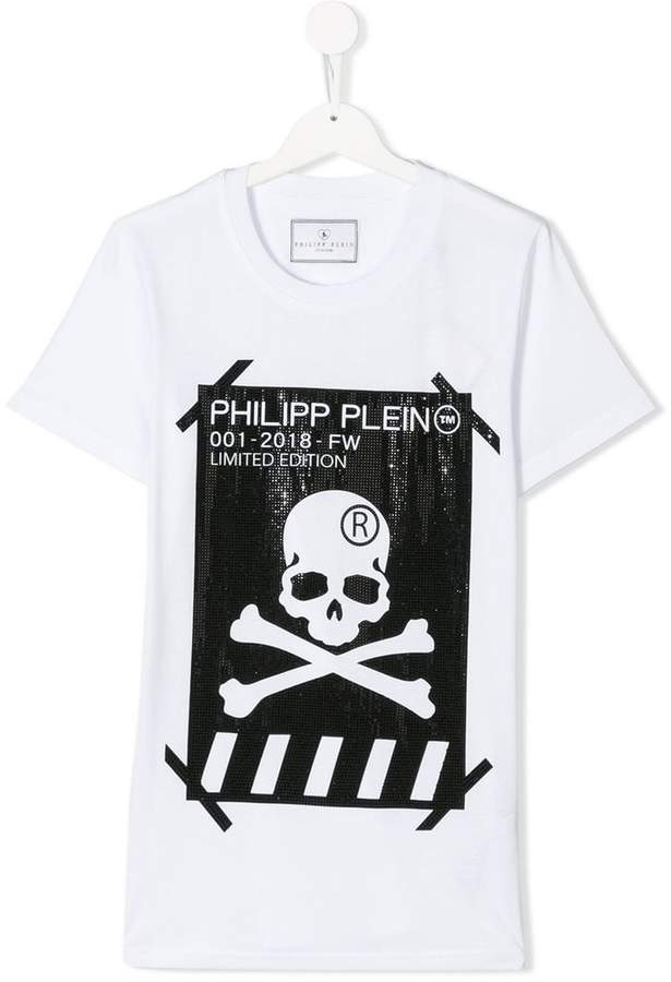 Philipp Plein Junior TEEN skull and crossbones logo T-shirt