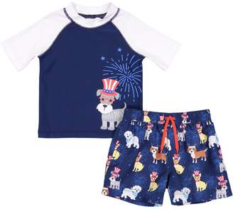 1df16327d0 Americana Toddler Boy Kiko & Max Dog Top Hat Raglan Rash Guard Top & Swim  Trunks