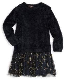 Imoga Little Girl's & Girl's Faux Fur Sweater & Tulle Dress