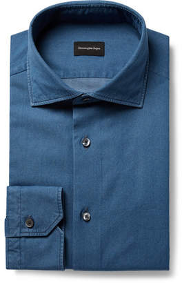 Ermenegildo Zegna Indigo Slim-Fit Cutaway-Collar Cotton-Chambray Shirt