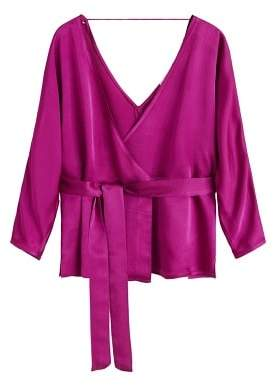 MANGO Satin wrap blouse