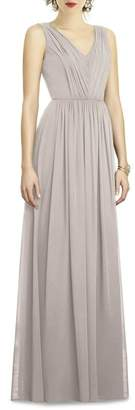 Dessy Collection Shirred Shimmer Chiffon Gown