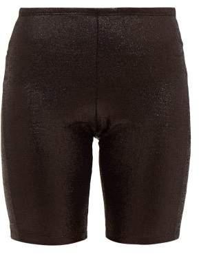 Paco Rabanne Logo Trimmed Metallic Shorts - Womens - Black