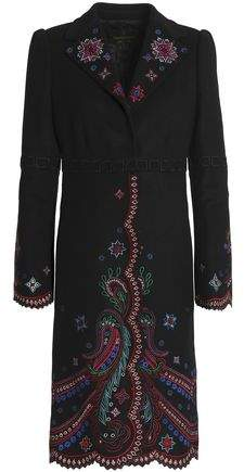 Embroidered Wool-Blend Coat
