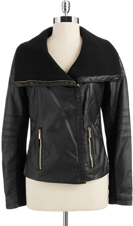 Calvin Klein Faux Leather Motorcycle Jacket
