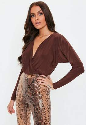 Missguided Chocolate long sleeve Wrap Front Slinky Bodysuit