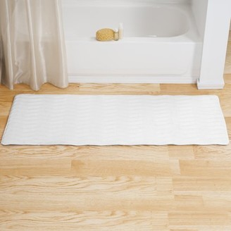 Laundry by Shelli Segal Microfiber Memory Foam Bathmat Oversized Padded Nonslip Accent Rug for Bathroom, Kitchen, Room, Wave Pattern by Somerset Home (White)