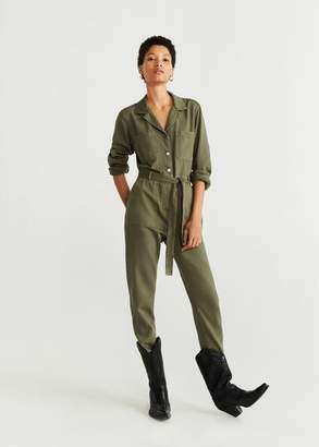 MANGO Long denim jumpsuit khaki - S - Women