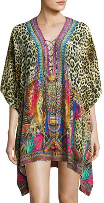 Camilla Embellished Lace-Up Silk Caftan Coverup, Kingdom Call $500 thestylecure.com