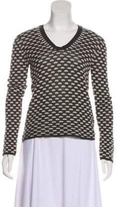 Armani Collezioni Merino Wool-Blend Long Sleeve Sweater Grey Merino Wool-Blend Long Sleeve Sweater