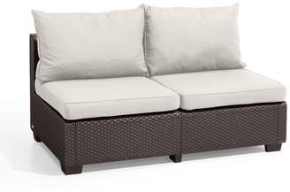Keter Sapporo Loveseat Brown with Sunbrella Cushions, Rattan Resin Patio Furniture