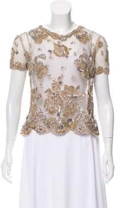 Valentino Sequin Embellished Short Sleeve Top
