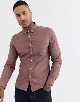 Asos Design DESIGN slim fit oxford shirt in brown