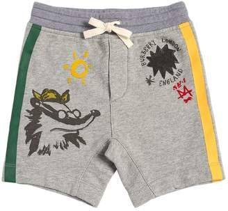Burberry Fox Printed Cotton Sweat Shorts