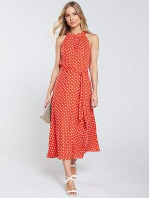 Wallis Spot Midi Dress - Red