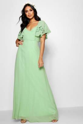 boohoo Boutique Broderie Cape Detail Maxi Dress
