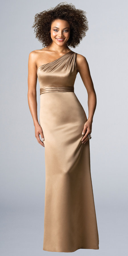 One Shoulder Matte Satin Bridesmaid Dresses from After Six