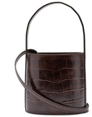 Staud - Bissett Crocodile Effect Leather Bucket Bag - Womens - Dark Brown