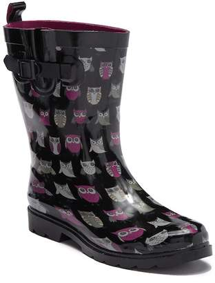 Capelli of New York Pop Owls Printed Rubber Mid Rain Boot