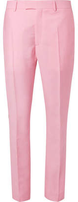 Calvin Klein Slim-Fit Striped Mohair and Wool-Blend Trousers - Men - Pink