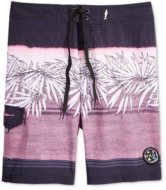 Maui and Sons Men's Tropical Trip Palm-Print Stripe Boardshorts $49.50 thestylecure.com