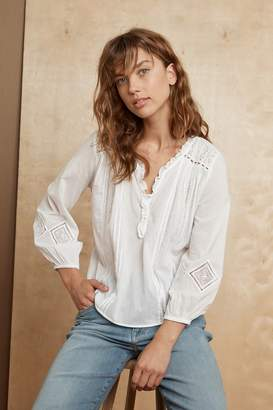 Velvet by Graham & Spencer HOPE EMBROIDERED COTTON LACE BLOUSE