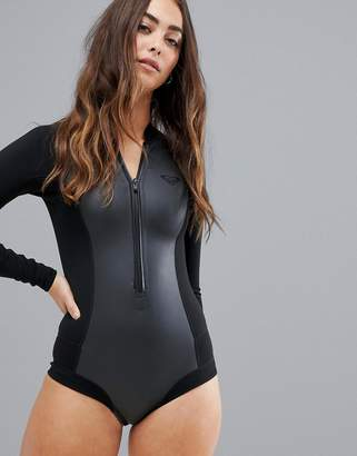 Roxy satin cheeky long sleeve neoprene wetsuit in black 4b374df17