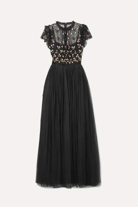 Needle & Thread Rococo Sequin-embellished Point D'esprit And Embroidered Tulle Gown - Black