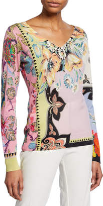 Etro Paisley Silk-Cashmere V-Neck Sweater