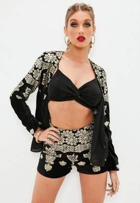 Missguided Black Velvet Embroidered Shorts, Black