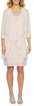 R & M Richards 3/4 Sleeve Embellished Jacket Dress