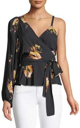 A.L.C. Mickalene One-Shoulder Floral Silk Wrap Top