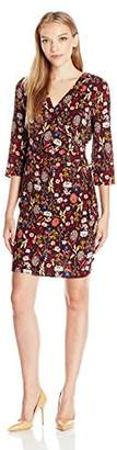 NY Collection Women's Petite Printed 3/4 Sleeve Dress with Pleated Wrap and Grommet and Tie at Waist, Medium