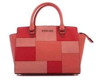 Michael Kors Selma Medium Top Zip Satchel Leather - Colorblock Pink Grapefruit - 30S6GLMS2U-665