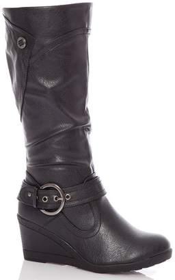 Quiz Black Buckle Wedge Calf Boot