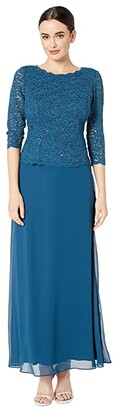 Alex Evenings Long Sequin Lace Mock Dress