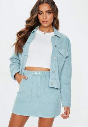 Missguided Light Blue Cord Mini Skirt Co-Ord
