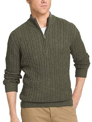 Izod Men's Cable Solid 1/4 Zip Sweater,M