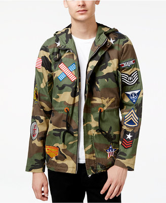 Reason Men's Patches Camo-Print Parka Jacket with Hood $150 thestylecure.com