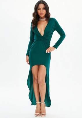 Missguided Green Satin Asymmetric Twist Front Maxi Dress