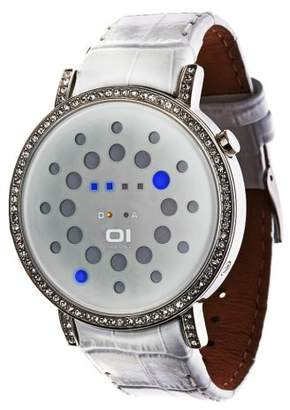 01 The One 01TheOne Women's ORS504B1 Odins Rage Crystal Accented Blue LED Leather Watch