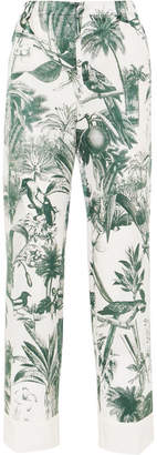 F.R.S For Restless Sleepers - Etere Printed Cotton And Silk-blend Twill Straight-leg Pants - White