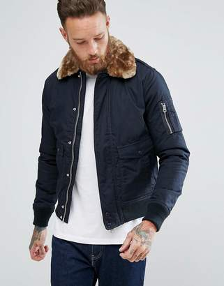 Schott Exclusive Air Bomber Jacket Detachable Faux Fur Collar Slim Fit in Navy/Beige