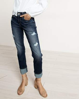 Express Mid Rise Distressed Cuffed Stretch+ Performance Cropped Skinny Jeans