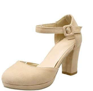 093610b0fa0b Agodor Womens High Block Heel Ankle Strap Pumps Closed Toe Buckle Sandals  Summer Shoes