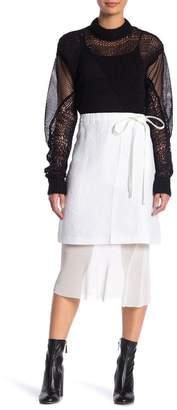 Helmut Lang Ruched Waist Linen Mesh Skirt