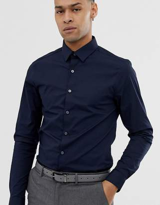 New Look muscle fit poplin shirt in navy