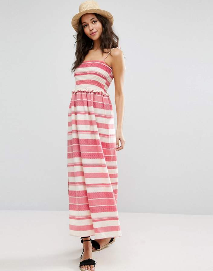 Asos ASOS Shirred Maxi Dress With Pom Pom Detail