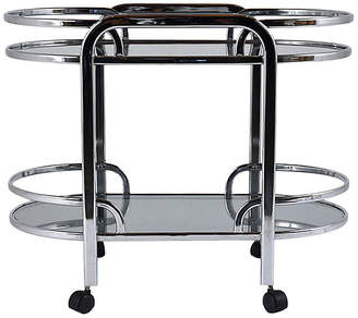 One Kings Lane Vintage Modern Chrome and Glass Bar Cart - Castle Antiques & Design